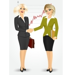 two blonde businesswomen shaking hands vector image