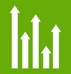 upside growing arrows icon green vector image