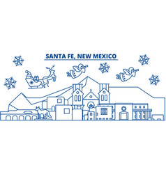 usa new mexico santa fe winter city skyline vector image