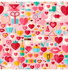 Valentine Day Pink Flat Design Seamless Pattern vector image