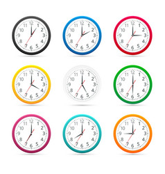 Wall clocks with different colors design icon vector