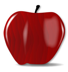 Wooden red apple vector