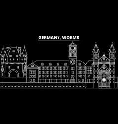 Worms silhouette skyline germany - worms vector