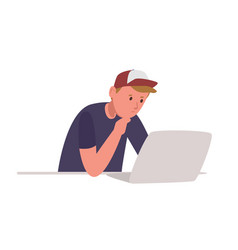 Young pensive boy sitting at laptop computer and vector