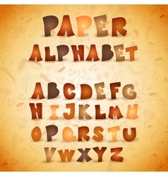 Colorful paper ABC letters Autumn alphabet vector image