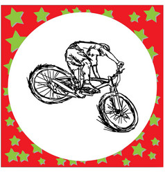 man riding mountain bike - sketch vector image