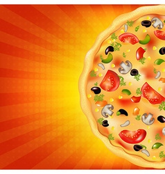 Pizza Poster With Sunburst vector image vector image