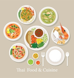 Thai Food and Cuisine Set vector image