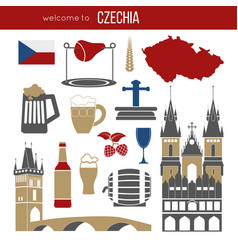 czech republic culture symbol set vector image