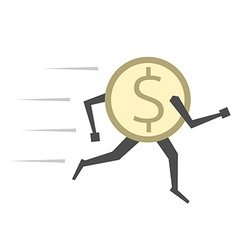 Dollar coin running isolated vector image vector image