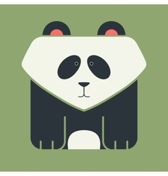 Flat square icon of a cute giant panda vector image
