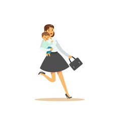 Flat super mom character with child running vector