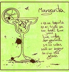 Hand drawn Margarita cocktail vector image vector image