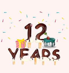 happy birthday number 12 with gift vector image vector image