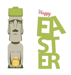 Happy Easter concept shows moai statue with egg vector image