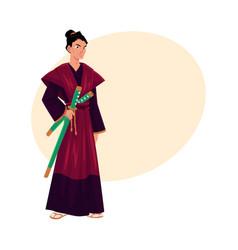 japanese samurai warrior in traditional kimono vector image vector image