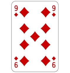 Poker playing card 9 diamond vector image