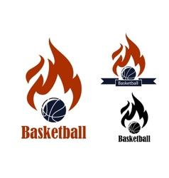 Basketball sport emblems vector image
