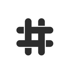 black hashtag icon with cut ends vector image vector image