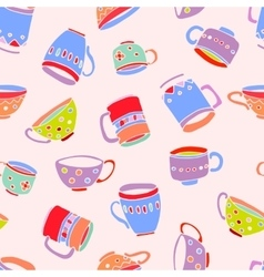 cute mugs and cups background vector image vector image