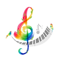 Music design treble clef and piano keyboard vector image vector image