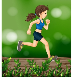 A woman running above a wood with leaves vector image