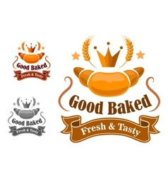 Bakery label withfresh and tasty croissant vector image
