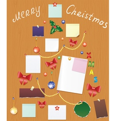 board with bauble bow holly berry and post vector image vector image