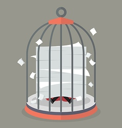 Businessman under a lot of documents in bird cage vector image