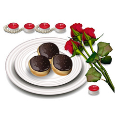 Chocolate profiteroles and red roses vector