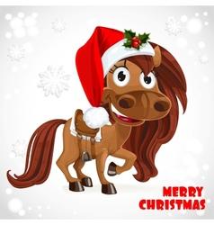 Cute Santa Horse on Christmas card vector image vector image
