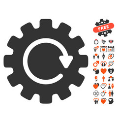 Gearwheel rotation icon with love bonus vector