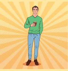pop art awaked tired man with morning coffee vector image