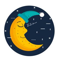 Sleeping moon in nightcap isolated on blue vector