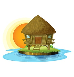 A nipa hut in an island vector image