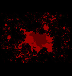 Abstract splatter red color on black color vector