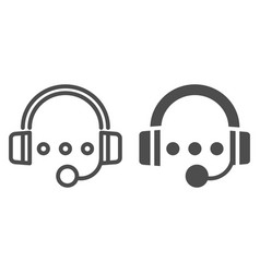 Audio course line and glyph icon headphones and vector