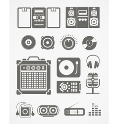 Audio equipment icons collection vector