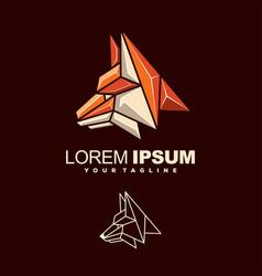 awesome fox head logo design vector image
