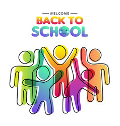 back to school card diverse colorful class vector image