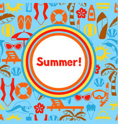 background with summer and beach objects vector image