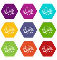 Bam comic book bubble icon set color hexahedron vector
