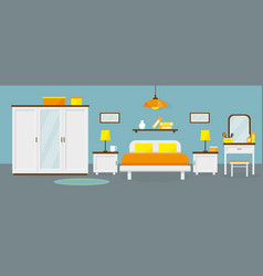 Bedroom interior with furniture vector