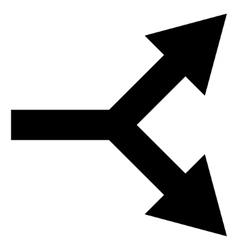 Bifurcation Arrow Right Flat Icon vector