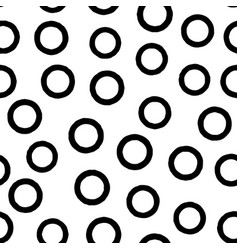 black circle seamless pattern with hand drawn vector image