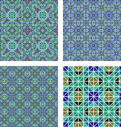 Blue colorful seamless mosaic pattern set vector