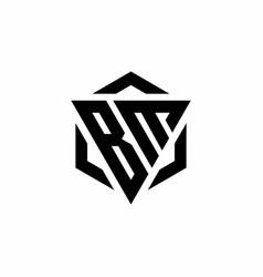 Bm logo monogram with triangle and hexagon modern vector