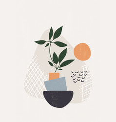 Botanical leaves print boho minimalist wall art vector