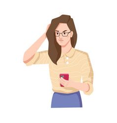 Brunette with smartphone irritated or annoyed girl vector