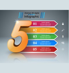 business five infographics origami style vector image